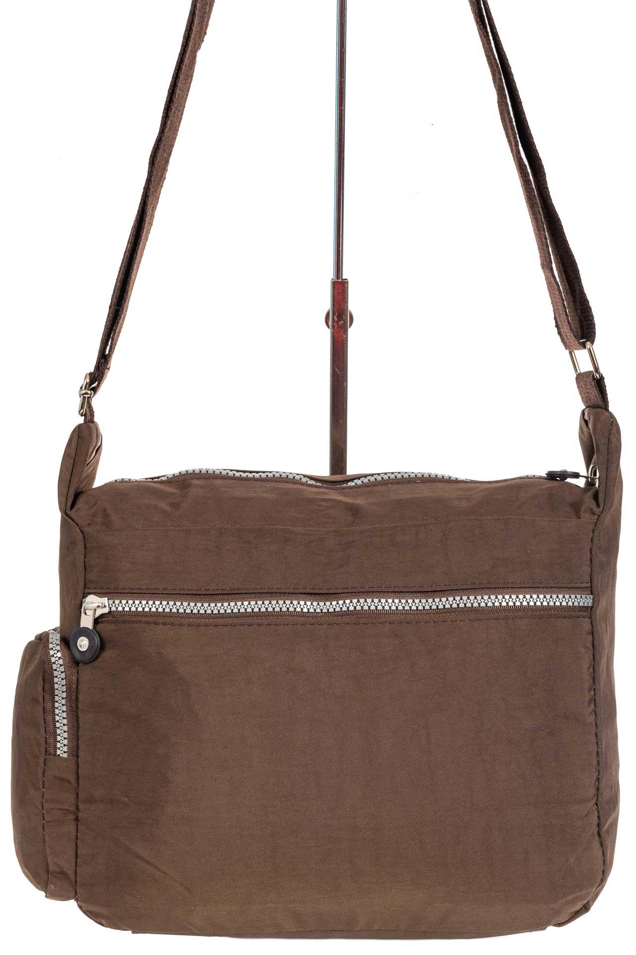 На фото 3 - Женская тканевая сумка с множеством карманов, цвет коричневый