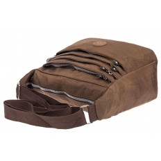На фото 4 - Женская тканевая сумка с множеством карманов, цвет коричневый