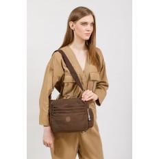 На фото 5 - Женская тканевая сумка с множеством карманов, цвет коричневый