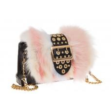 На фото 1 - Женская сумка из меха лисы, розовый мультицвет