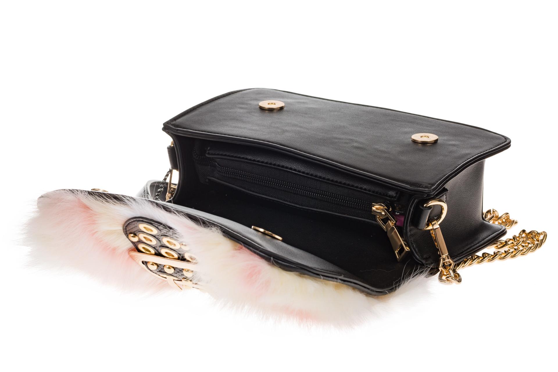 На фото 4 - Женская сумка из меха лисы, розовый мультицвет