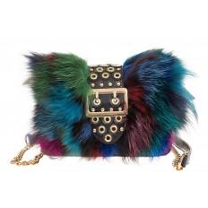 На фото 2 - Женская сумка из меха лисы, синий мультицвет