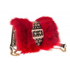 На фото 1 - Женская сумка из меха лисы, красный мультиц...