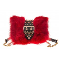 На фото 2 - Женская сумка из меха лисы, красный мультицвет