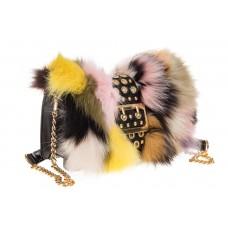 На фото 1 - Женская сумка из меха лисы, желтый мультицв...
