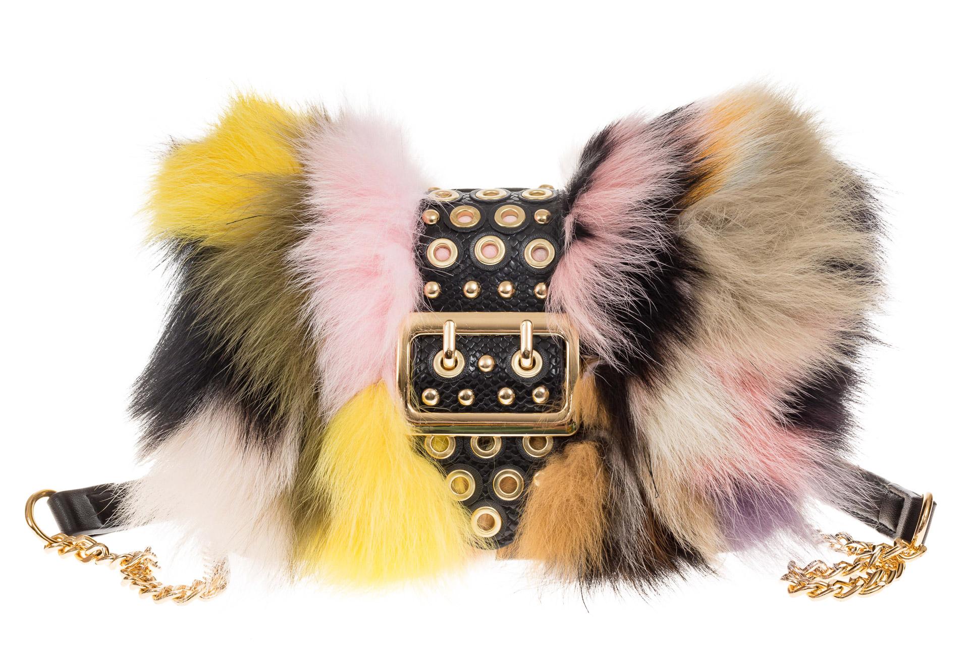 На фото 2 - Женская сумка из меха лисы, желтый мультицвет