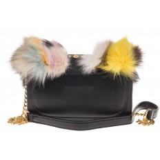 На фото 3 - Женская сумка из меха лисы, желтый мультицвет
