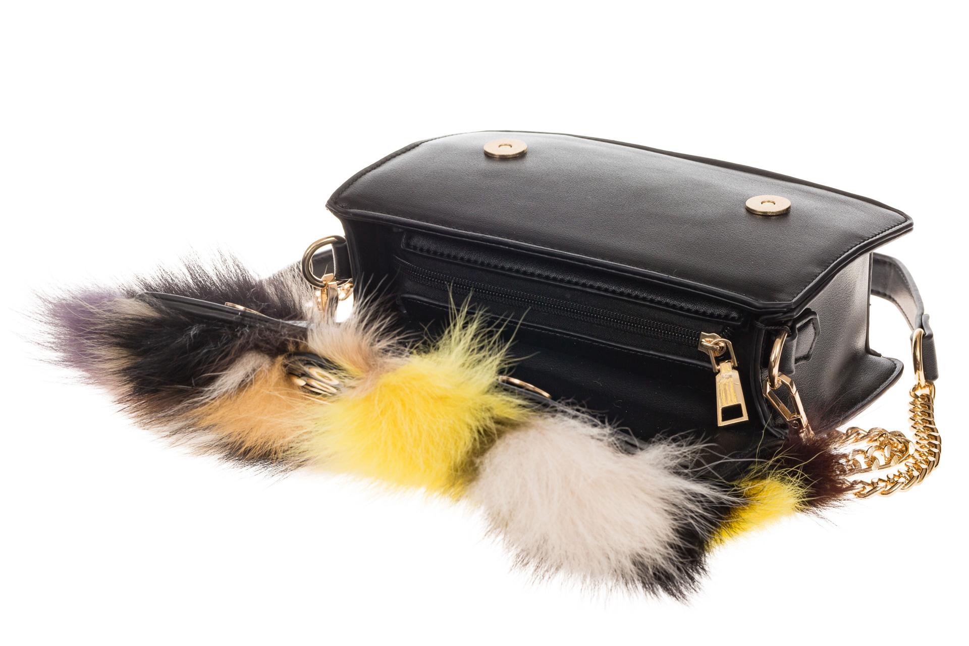 На фото 4 - Женская сумка из меха лисы, желтый мультицвет