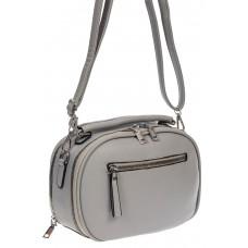 На фото 1 - Овальная женская сумочка из экокожи, цвет серый