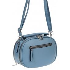 На фото 1 - Овальная женская сумочка из экокожи, цвет голубой