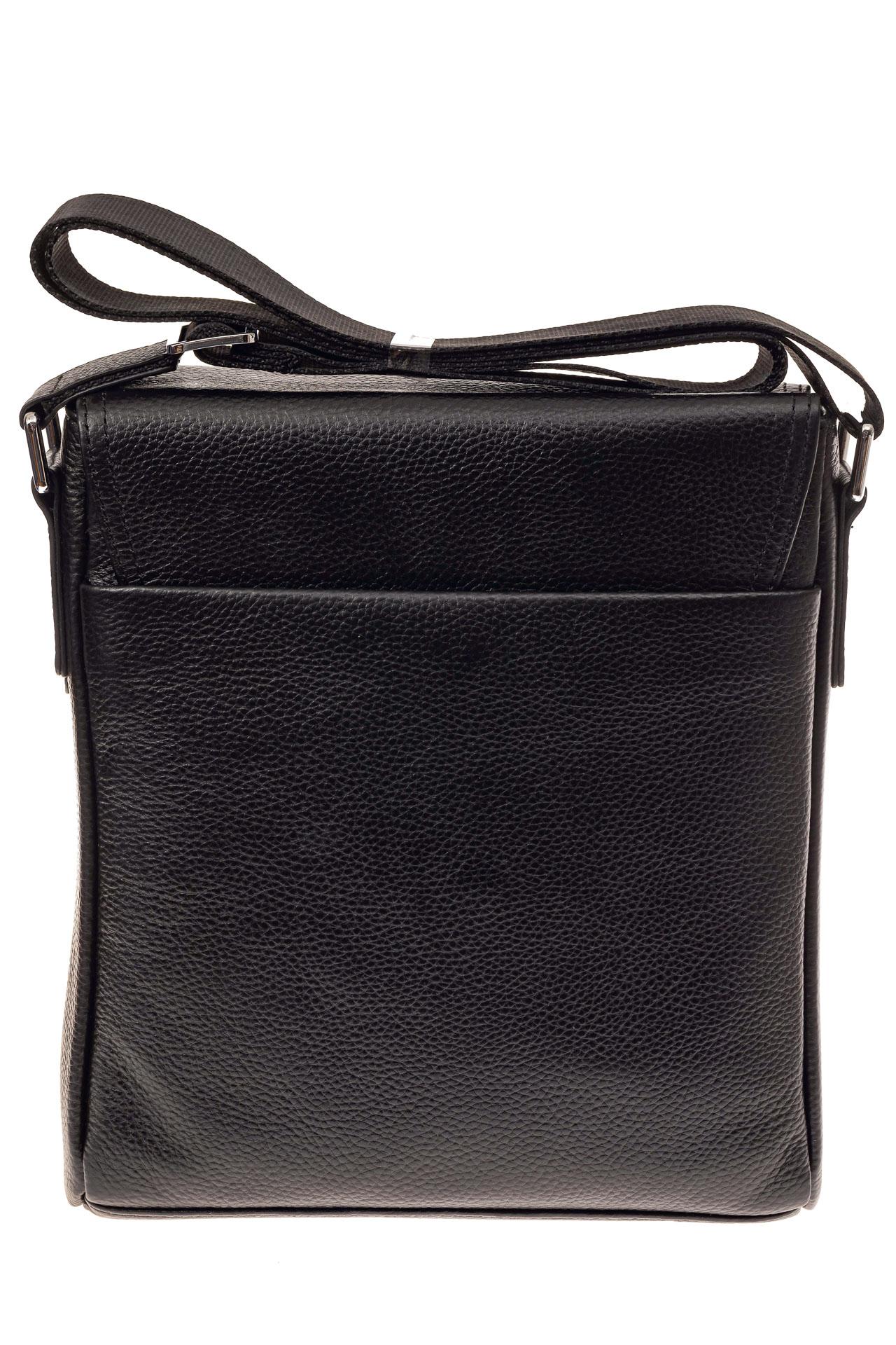 На фото 3 - Строгая мужская сумка из натуральной кожи, цвет черный