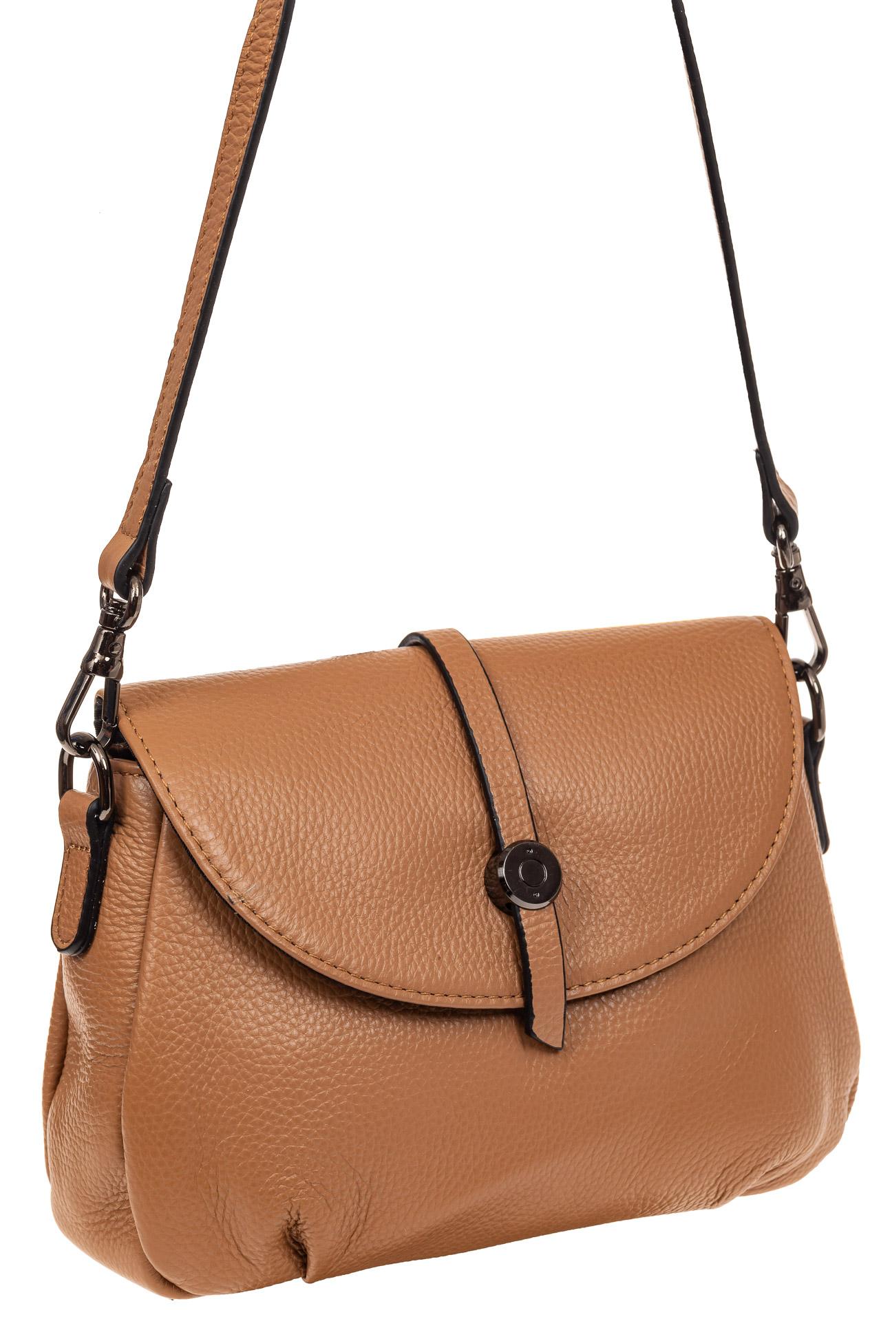 На фото 1 - Мини shoulder bag из натуральной кожи, цвет бежевый