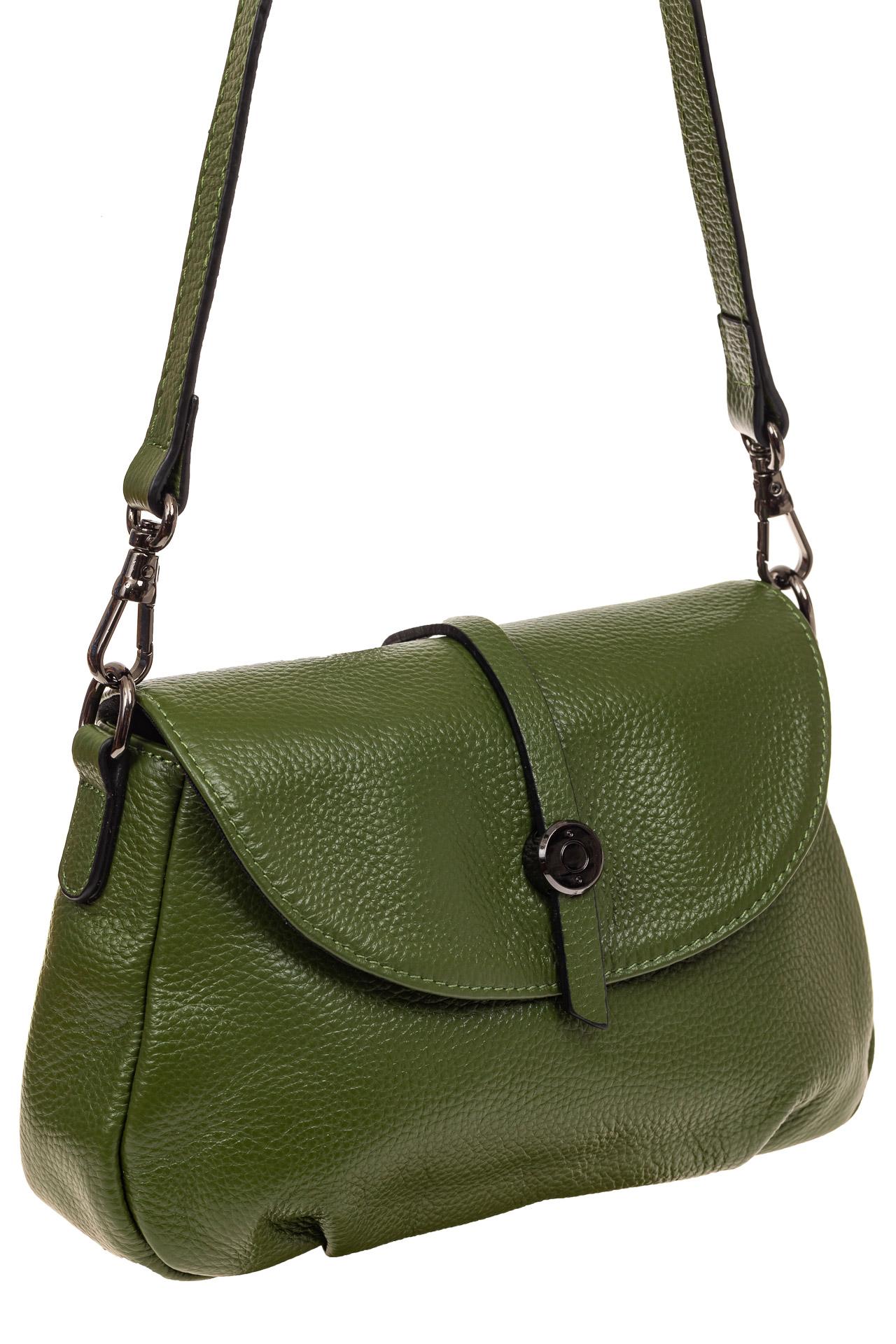 На фото 1 - Мини shoulder bag из натуральной кожи, цвет зеленый
