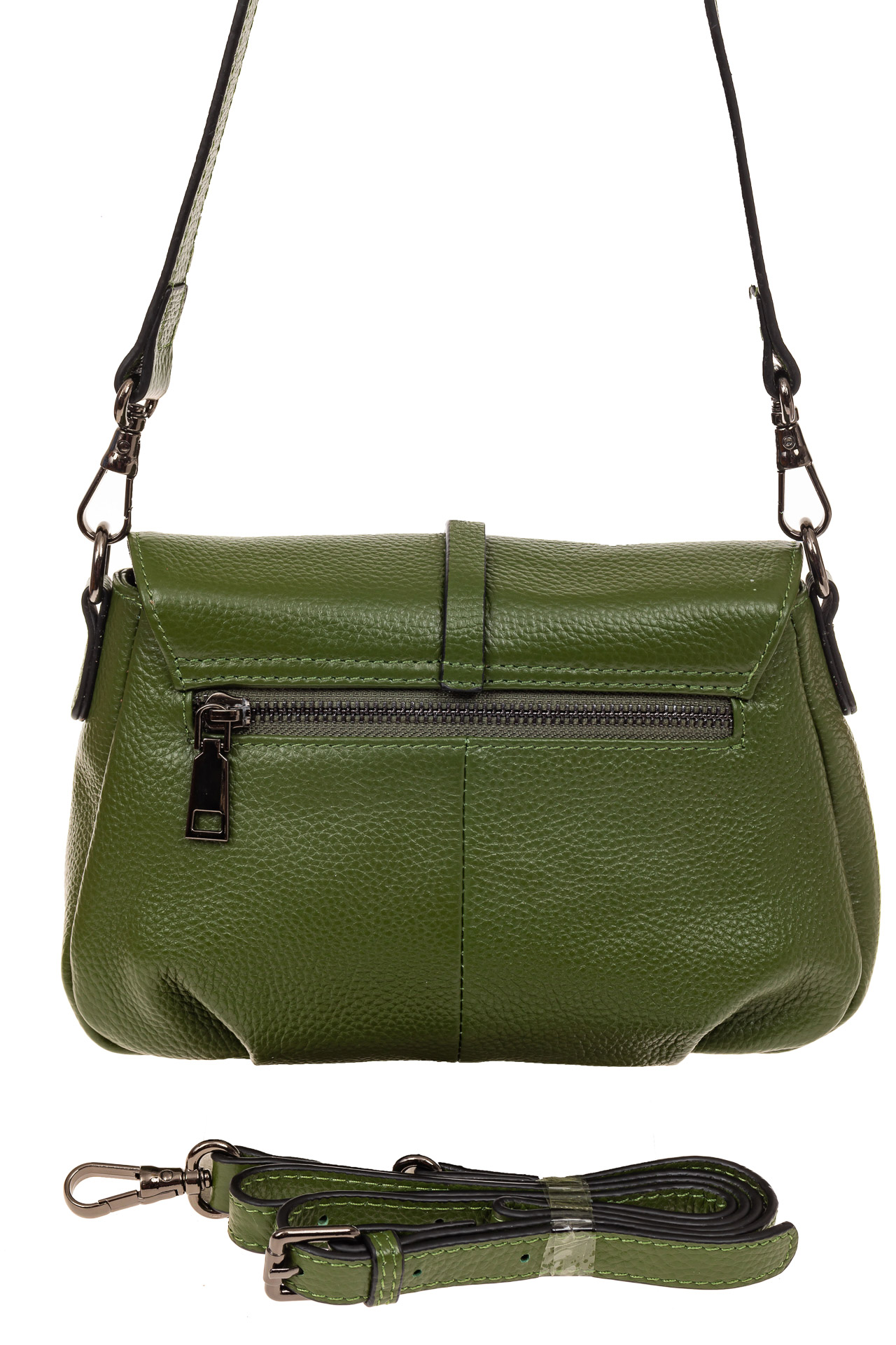 На фото 2 - Мини shoulder bag из натуральной кожи, цвет зеленый