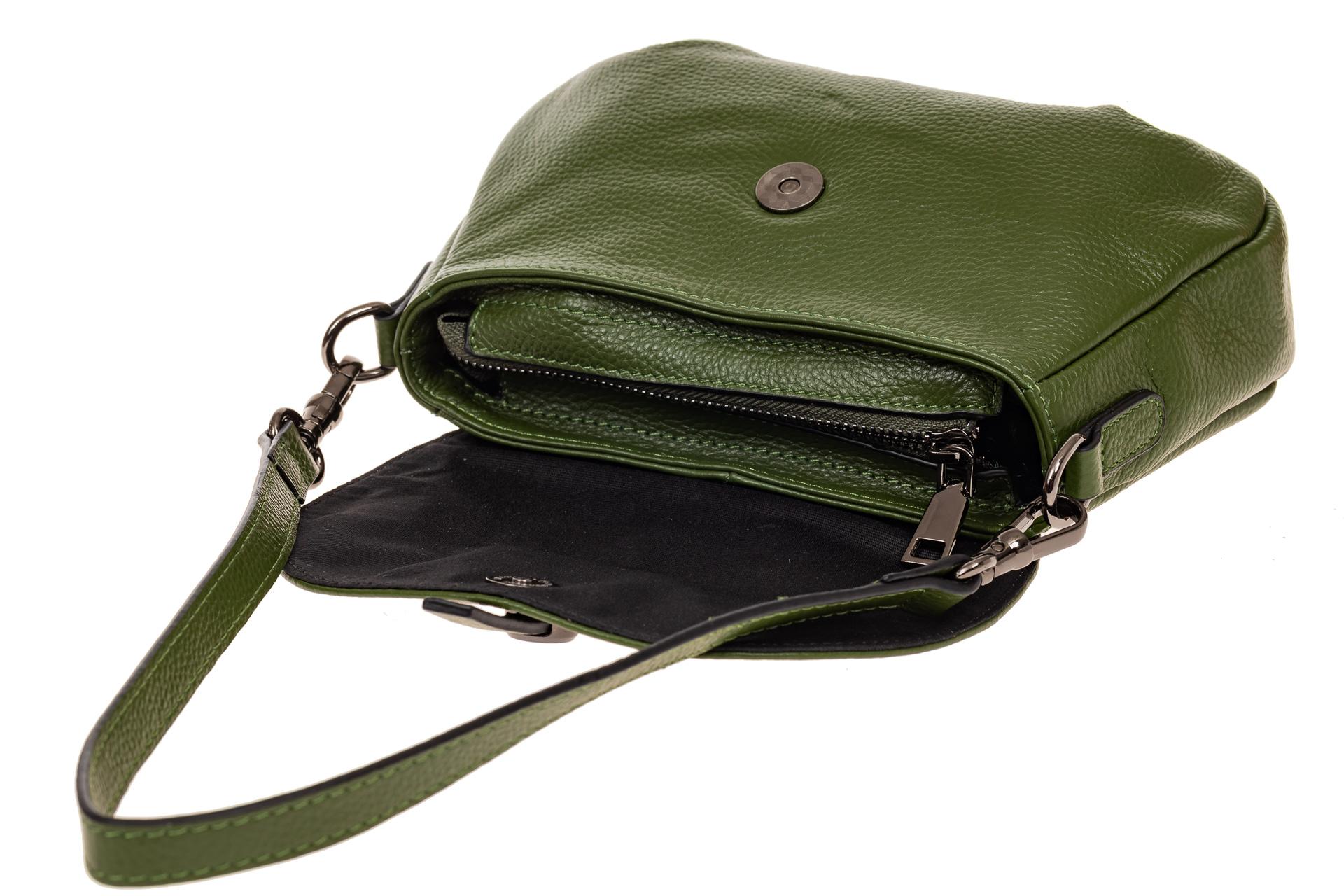 На фото 3 - Мини shoulder bag из натуральной кожи, цвет зеленый