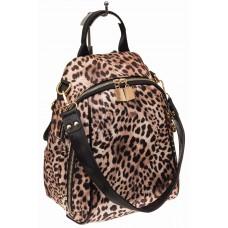На фото 1 - Женский рюкзак из искусственной кожи, леопа...