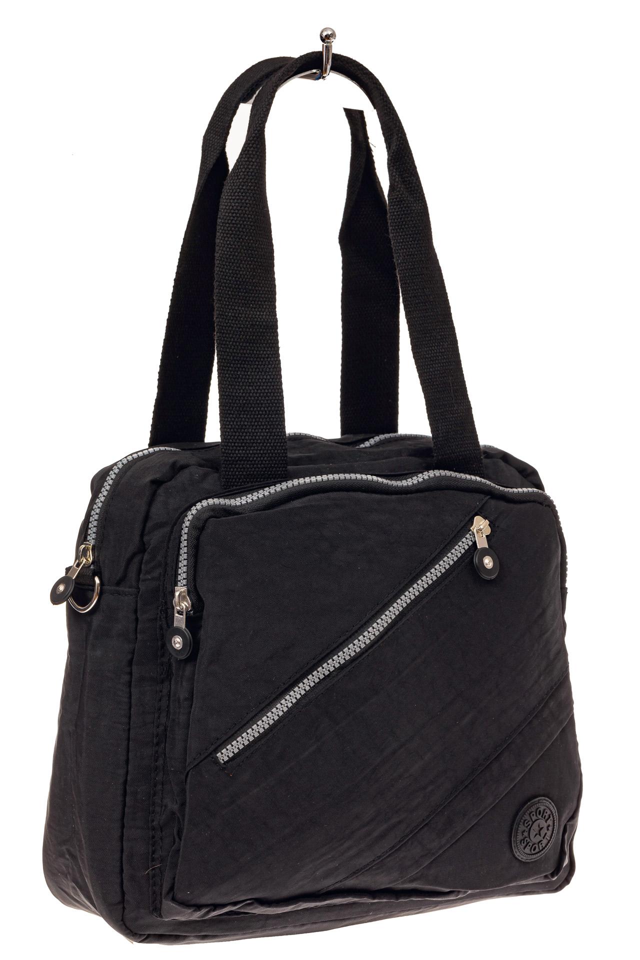 На фото 1 - Текстильная сумка-рюкзак, цвет черный