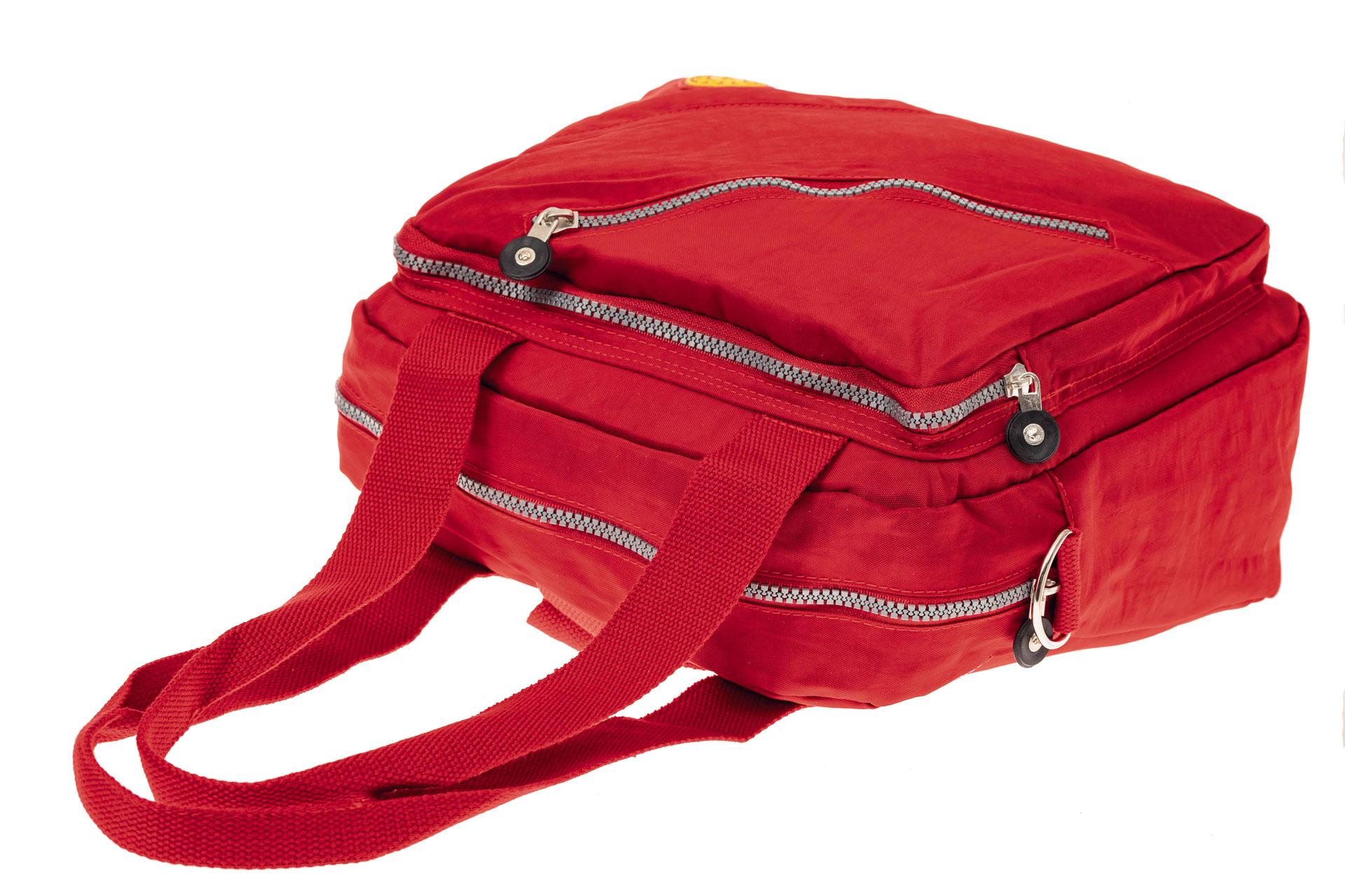 На фото 4 - Текстильная сумка-рюкзак, цвет красный