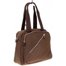 На фото 1 - Текстильная сумка-рюкзак, цвет коричневый