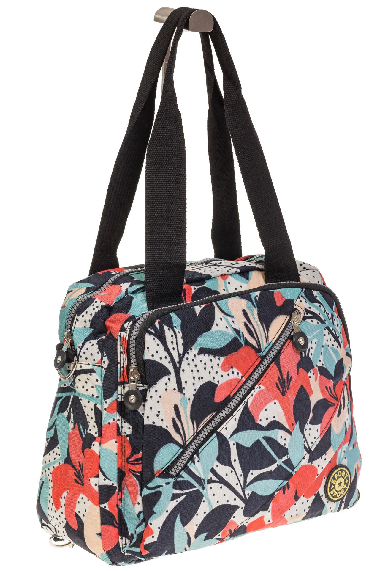 На фото 1 - Текстильная сумка-рюкзак с белым принтом