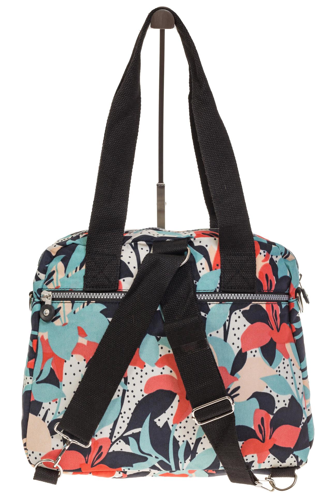На фото 3 - Текстильная сумка-рюкзак с белым принтом