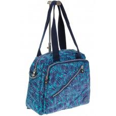 На фото 1 - Текстильная сумка-рюкзак с синим принтом