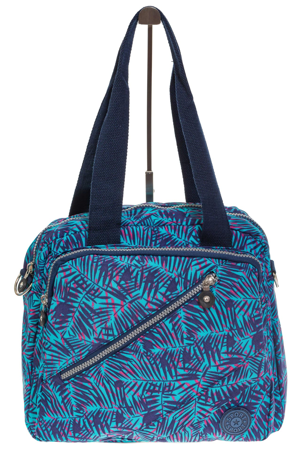 На фото 2 - Текстильная сумка-рюкзак с синим принтом