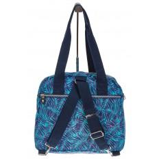 На фото 3 - Текстильная сумка-рюкзак с синим принтом