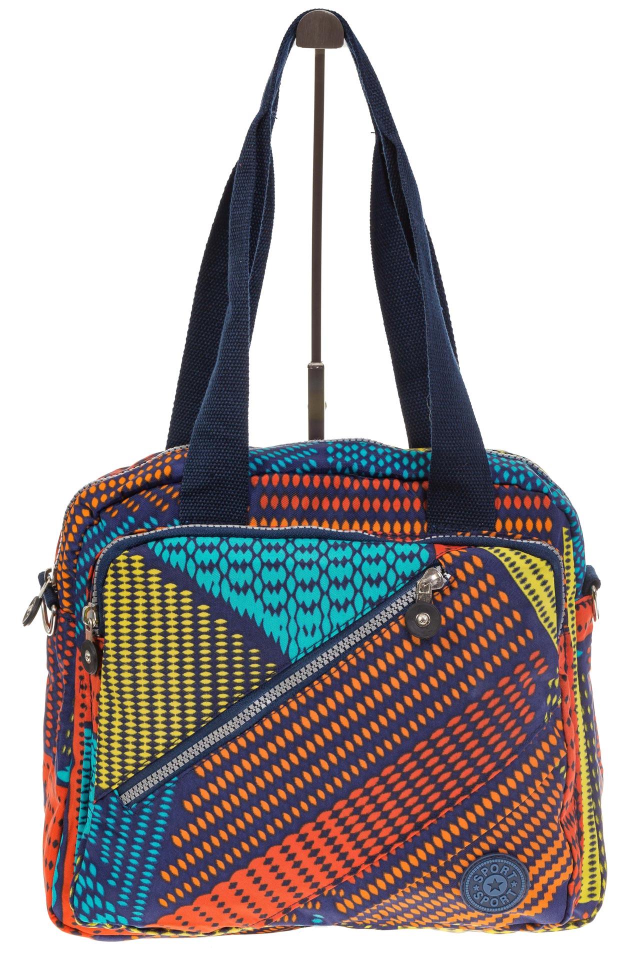 На фото 2 - Текстильная сумка-рюкзак с красным принтом