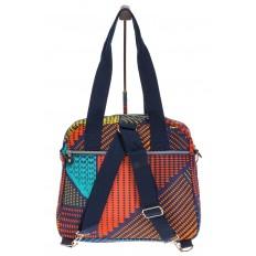 На фото 3 - Текстильная сумка-рюкзак с красным принтом