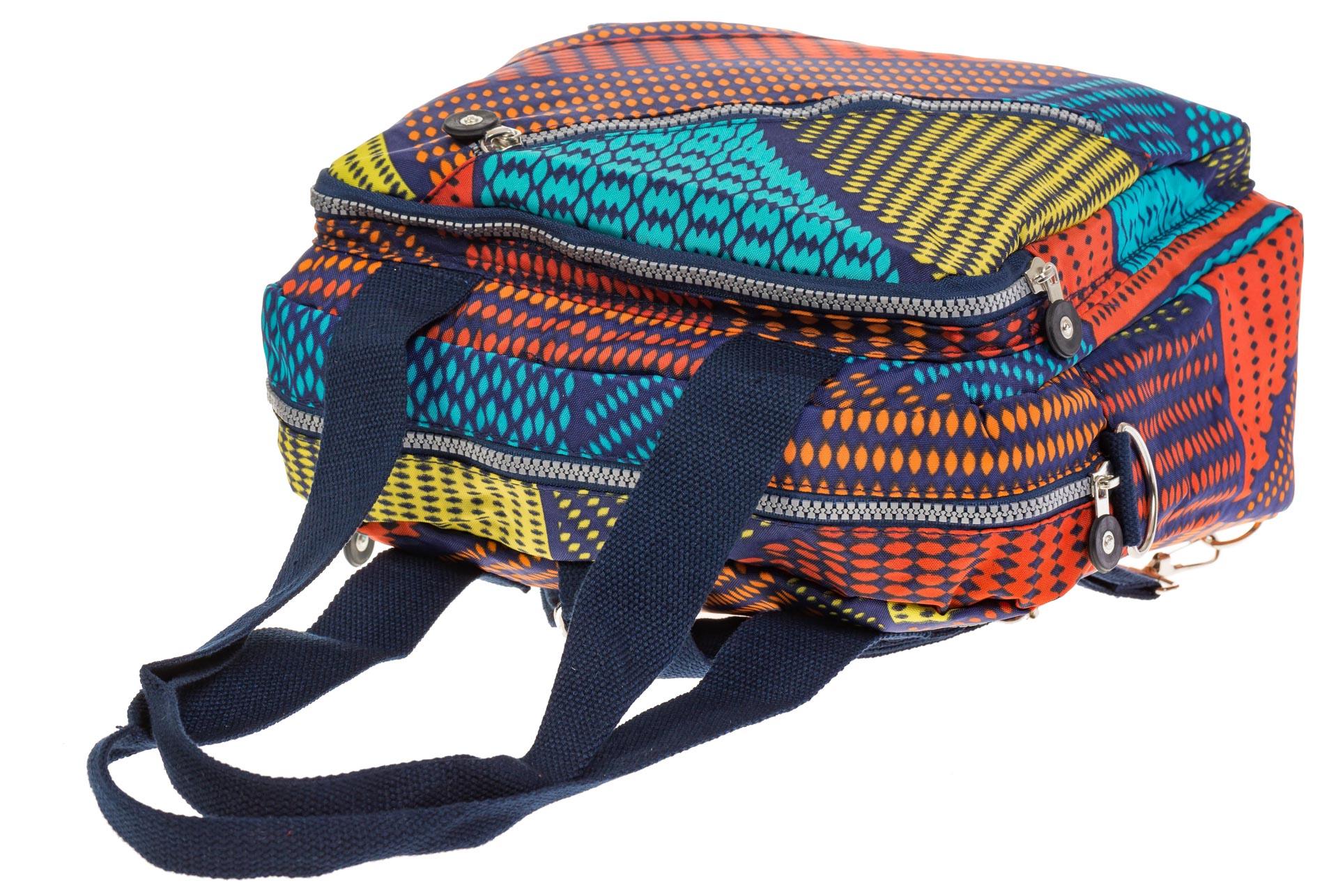На фото 4 - Текстильная сумка-рюкзак с красным принтом