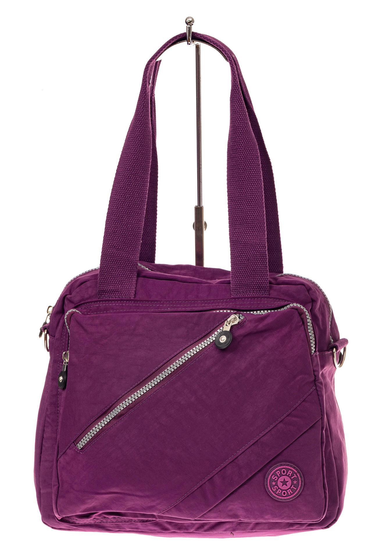 На фото 2 - Текстильная сумка-рюкзак, цвет фиолетовый
