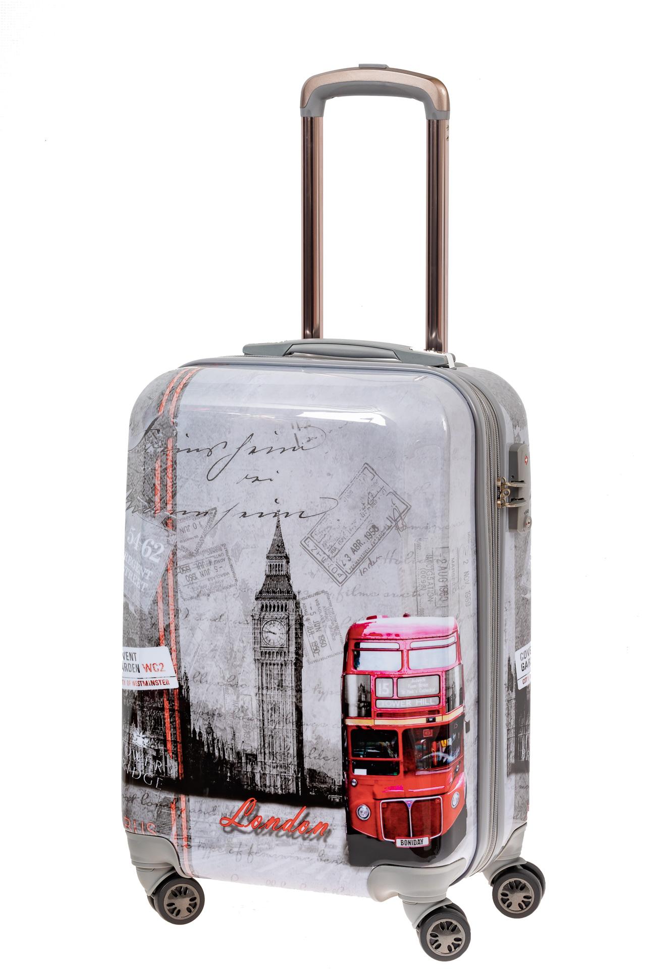 На фото 1 - Небольшой пластиковый чемодан с фото-принтом Лондон