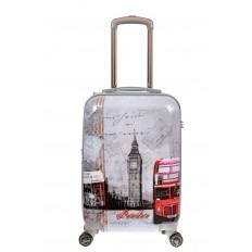 На фото 2 - Небольшой пластиковый чемодан с фото-принтом Лондон