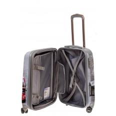 На фото 3 - Небольшой пластиковый чемодан с фото-принтом Лондон