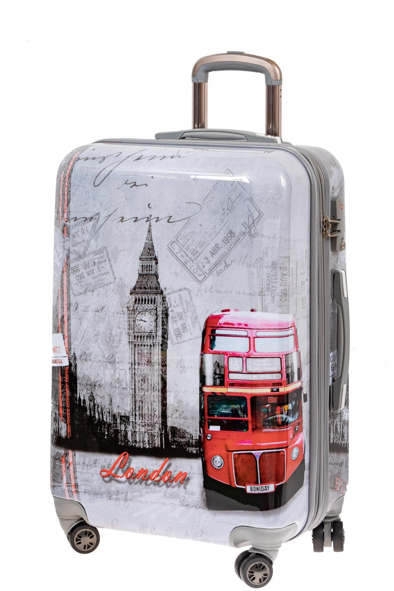 На фото 1 - Большой пластиковый чемодан с фото-принтом Лондон