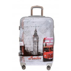 На фото 2 - Большой пластиковый чемодан с фото-принтом Лондон