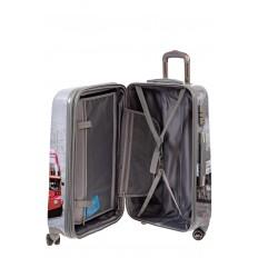 На фото 3 - Большой пластиковый чемодан с фото-принтом Лондон