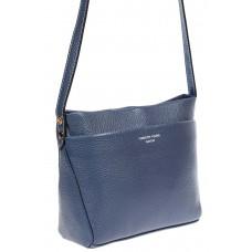 На фото 1 - Кожаная сумка-малышка через плечо, цвет синий