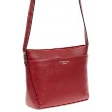 На фото 1 - Кожаная сумка-малышка через плечо, цвет бордо