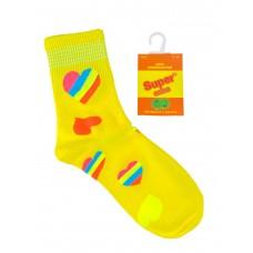 На фото 1 - Люминесцентные подростковые носки с принтом, цвет жёлтый