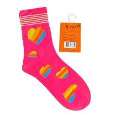 На фото 1 - Люминесцентные подростковые носки с принтом, цвет ярко-розовый