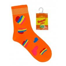 На фото 1 - Люминесцентные подростковые носки с принтом, цвет ярко-оранжевый