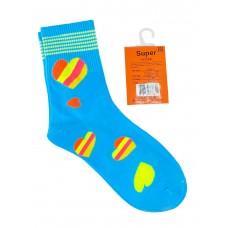 На фото 1 - Люминесцентные подростковые носки с принтом, цвет голубой