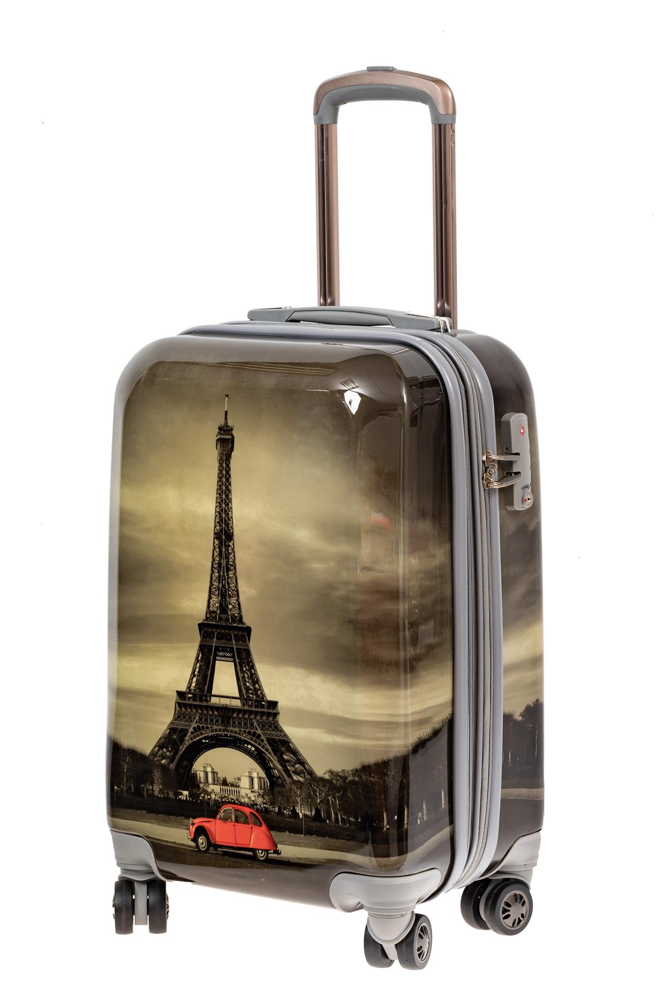 На фото 1 - Небольшой пластиковый чемодан с Эйфелевой Башней