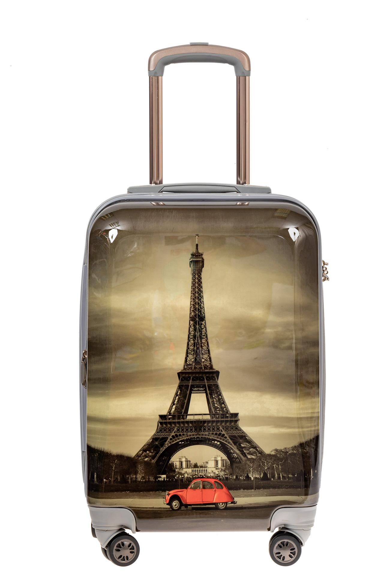 На фото 2 - Небольшой пластиковый чемодан с Эйфелевой Башней