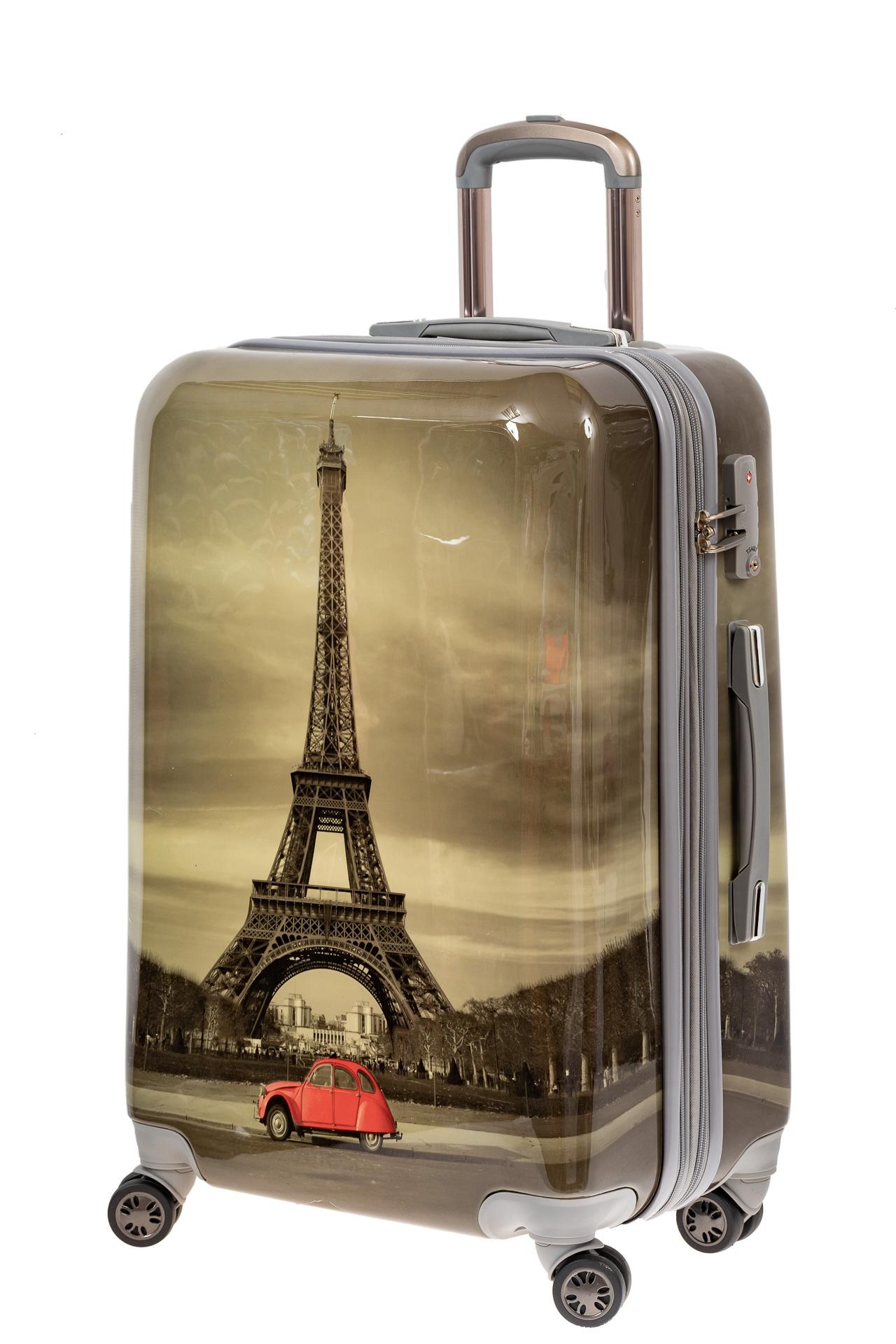 На фото 1 - Пластиковый чемодан с Эйфелевой Башней