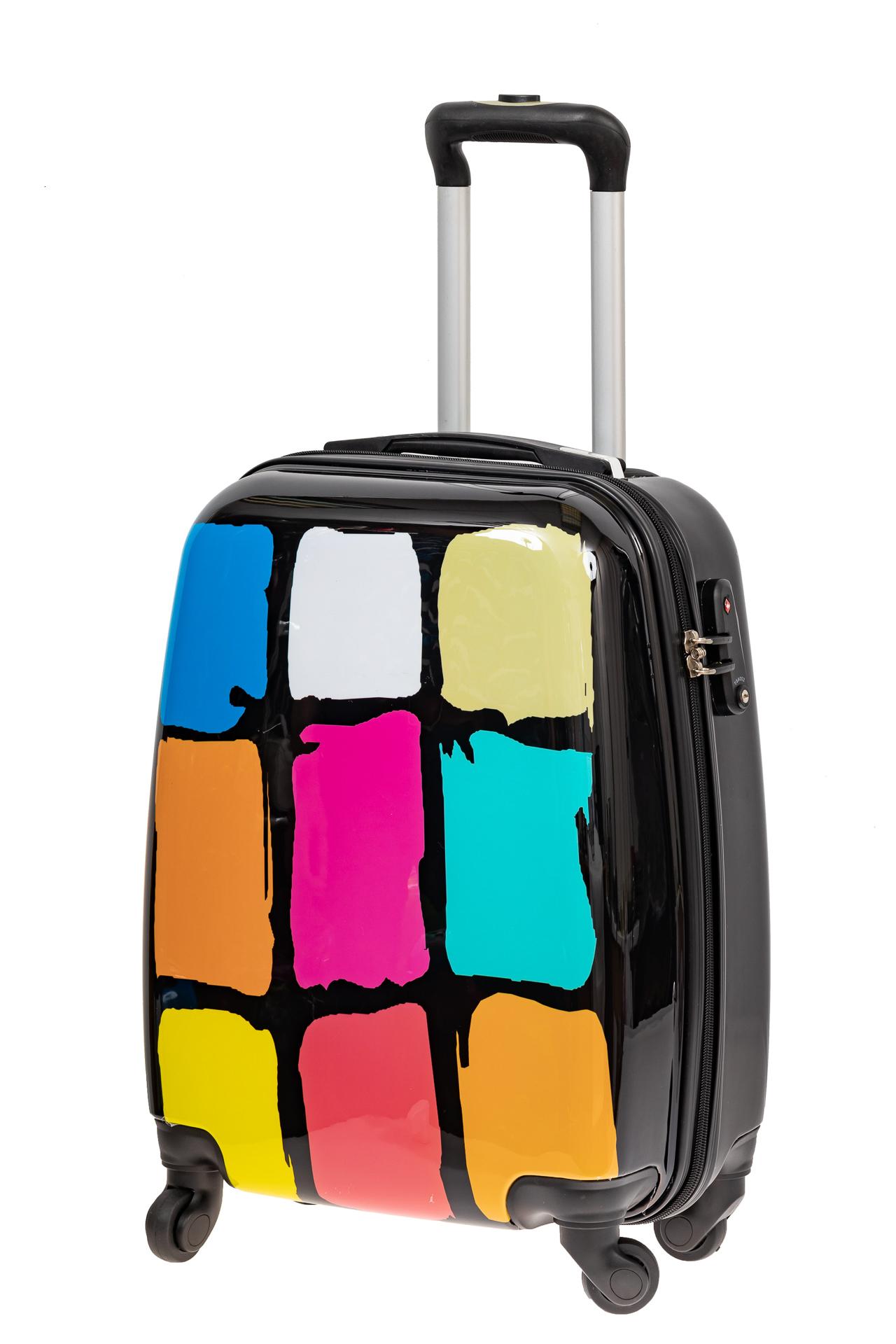 На фото 1 - Прочный пластиковый чемодан среднего размера с яркой расцветкой