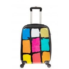 На фото 2 - Прочный пластиковый чемодан среднего размера с яркой расцветкой