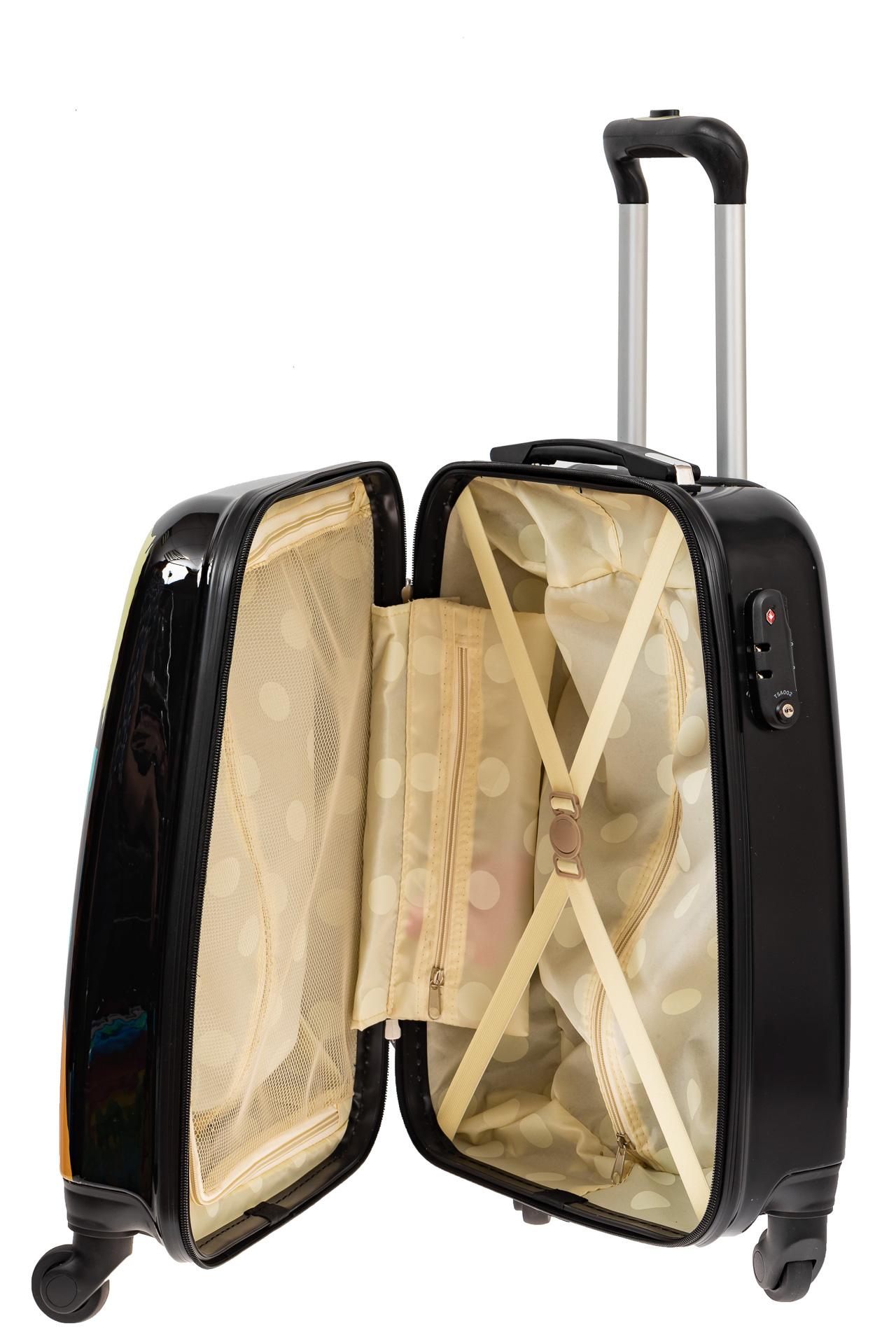 На фото 3 - Прочный пластиковый чемодан среднего размера с яркой расцветкой